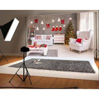 GreenDecor Polyster 7x5ft Christmas Photography Backdrop Tree Interior Decorations Gift Box Sofa Red Stocking Desk Gray Blanket Scene Photo Background Children Baby Adults Portraits Backdrop
