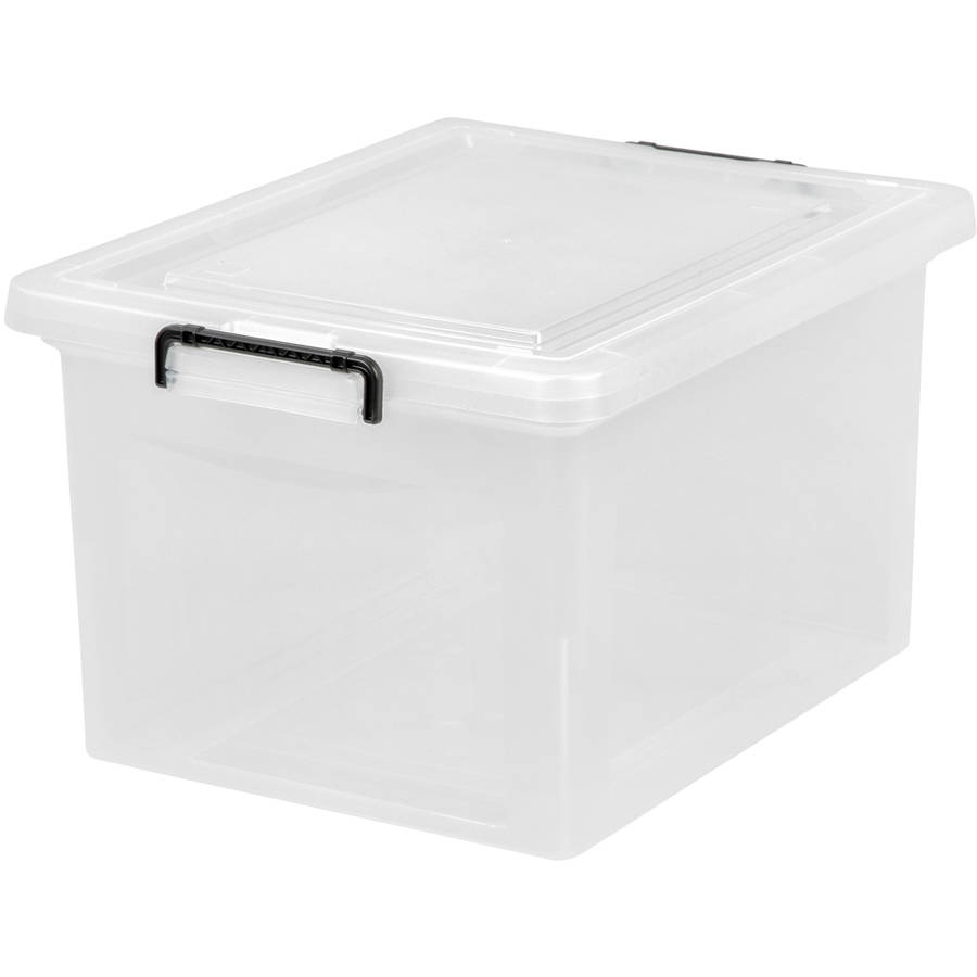 IRIS Letter and Legal Size Hanging File Storage Box with Buckles, Clear Set of 6