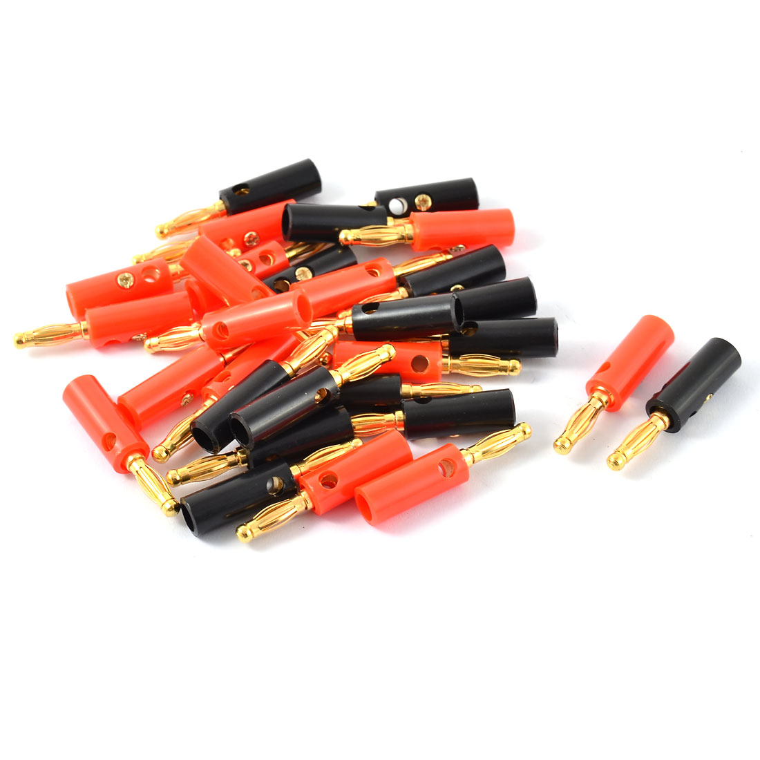 Unique Bargains 30pcs Red Black Insulated Cover Audio Speaker Cable Wire Banana Plug Connector