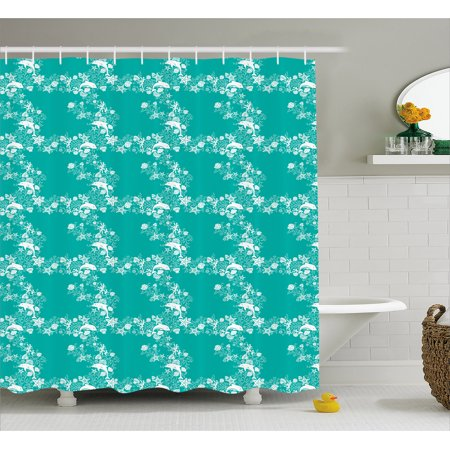 Fish Shower Curtain Dolphins Starfishes And Seashells Floral Animal Pattern Swirls Stalks Flowers