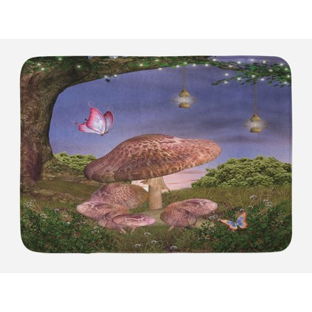 Fantasy Bath Mat, Enchanted Forest with Butterflies and Mushroom Magic Fairy Tale Style Illustration, Non-Slip Plush Mat Bathroom Kitchen Laundry Room Decor, 29.5 X 17.5 Inches, Multicolor,