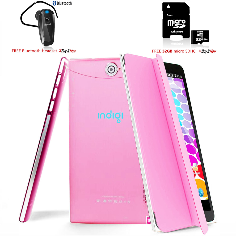 """Indigi® 7.0"""" 3G Unlocked 2-in-1 Android 4.4 KitKat SmartPhone & TabletPC w/ Built-in Cover + Bundle Included(Pink)"""