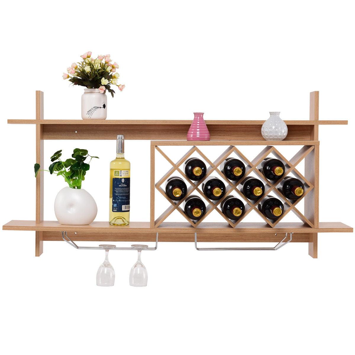 Gymax Wall Mount Wine Rack Organizer With Glass Holder Storage