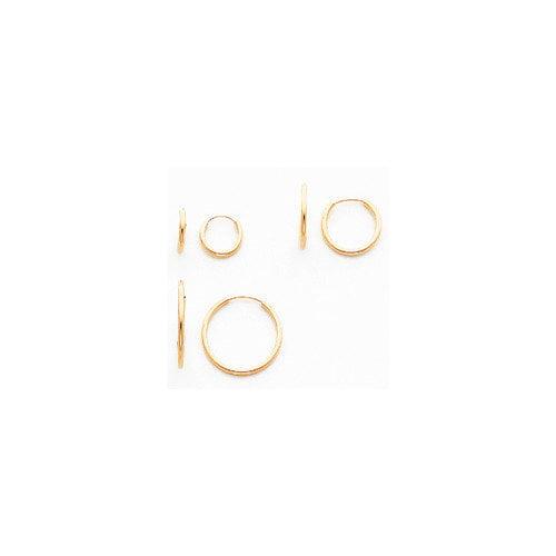Jewelryweb 14k Polished 3-Pair Set - Endless Hoop Earrings