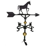 Montague Metal Products WV-356-SB 300 Series 32 inch Deluxe Black Gaited Horse Weathervane