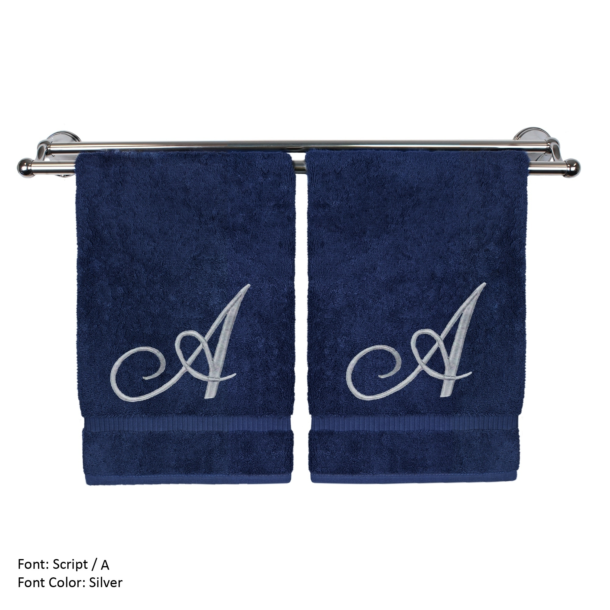 Monogrammed Washcloth Towel, Personalized Gift, 13x13 Inches - Set of 2 - Silver Script Embroidered Towel - Extra Absorbent 100% Turkish Cotton - Soft Terry Finish - Initial A Navy
