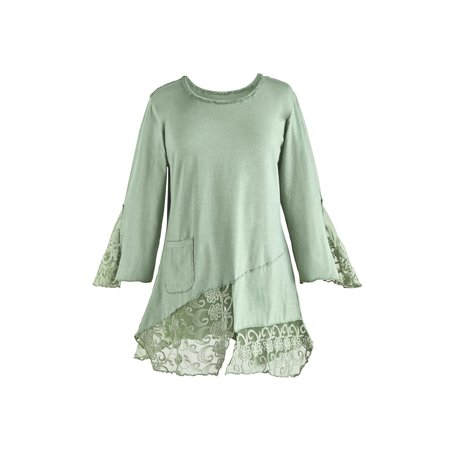 Parsley & Sage Women's Bias Cut Tunic Top - Cotton & Lace 3/4 Sleeve Blouse