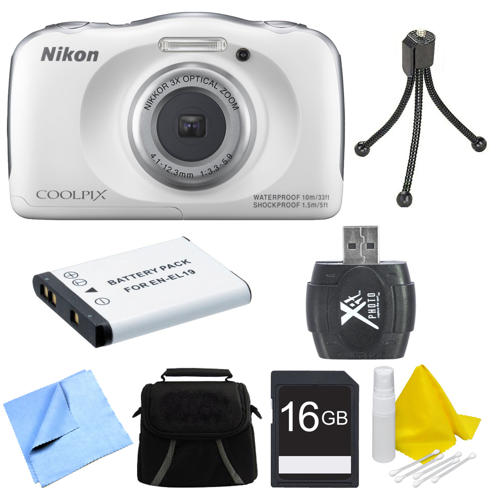 Nikon COOLPIX S33 13.2MP Waterproof Shockproof Digital Camera White Deluxe 16GB Bundle - Includes Camera, Card Reader, Gadget Bag, 16GB Memory Card, Battery, Mini Tripod and More