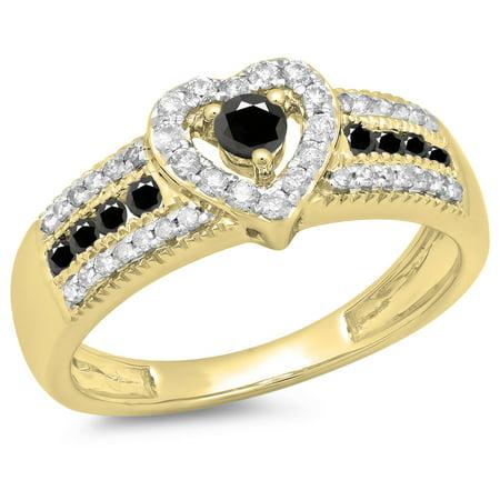 0.55 Carat (ctw) 14K Yellow Gold Round Cut Black & White Diamond Ladies Bridal Heart Shaped Promise Engagement Ring 1/2