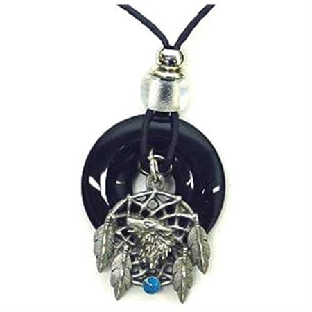 Siskiyou Gifts OP216 Onyx and Diamond Cut Necklace- Wolf Dream Catcher (Onyx Necklace)