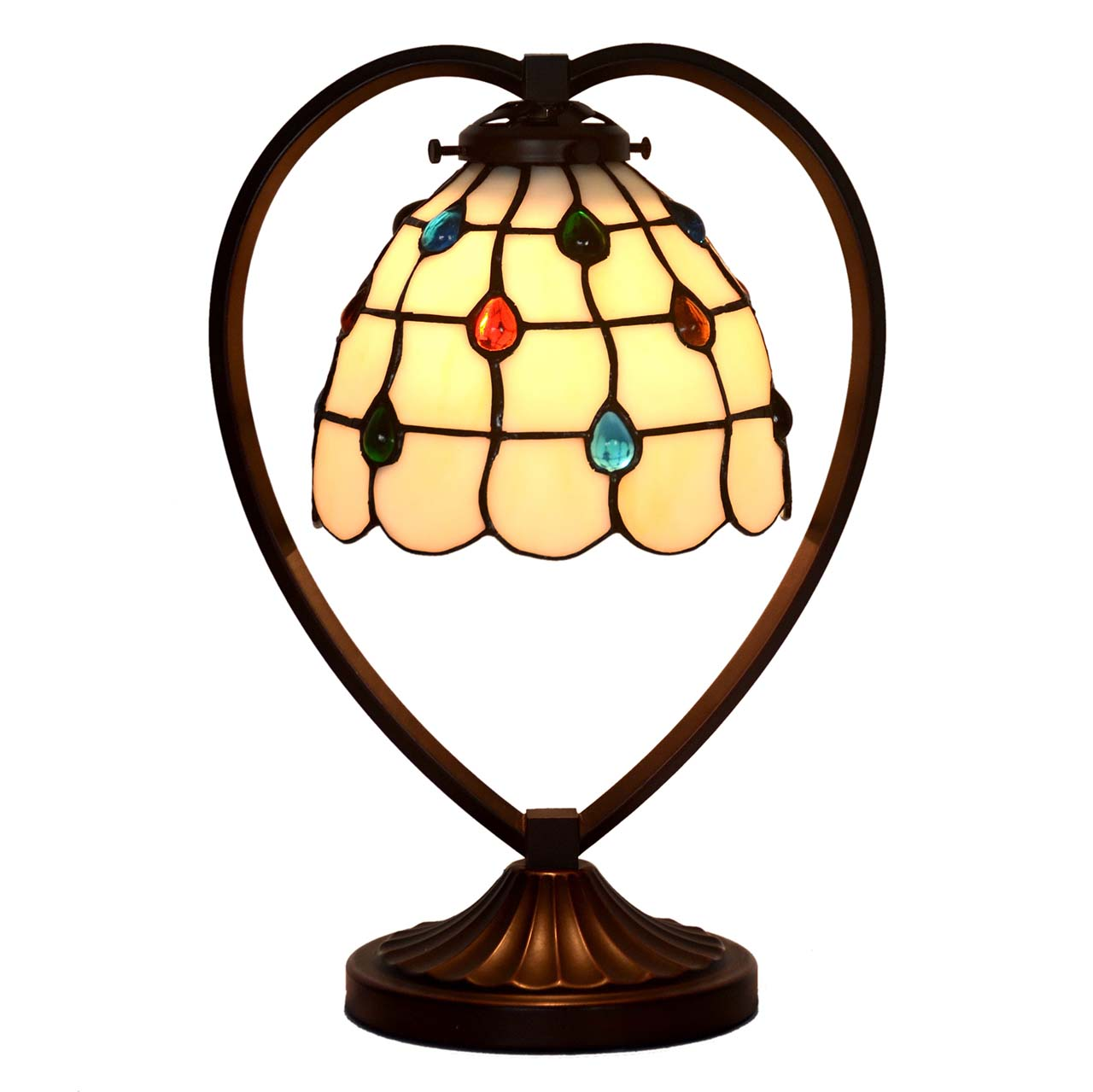 Bieye L10512 10 Inches Jewels Tiffany Style Stained Glass Table Lamp