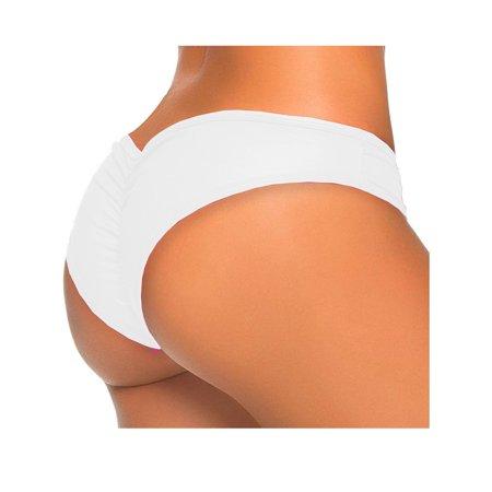 SAYFUT Sexy Women's Itsy Back Ruched Thong Bikini Bottoms Brazilian Swimsuit Swimwear Beachwear Bathing Cheeky (Brazilian Side Tie Thong Bikini)