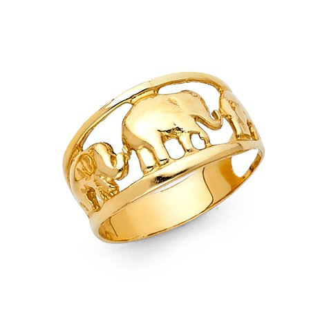 Lucky Charms Elephant Good Luck Symbols 10mm Band 14k Yellow Gold Ring Size 6.5 Available All - Charm Ring
