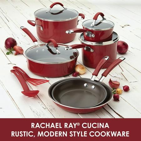 Rachael Ray 3-Quart Cucina Hard Porcelain Enamel Nonstick Multi-Pot Set with Steamer