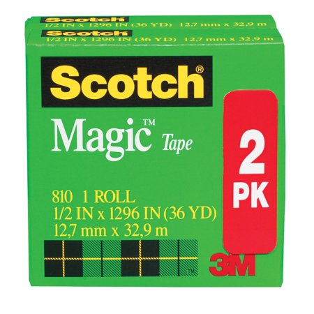 Scotch 810 Magic Photo-Safe Writable Self-Adhesive Invisible Tape With 1 In. Core, Matte Clear, Pack - Invisible Matte