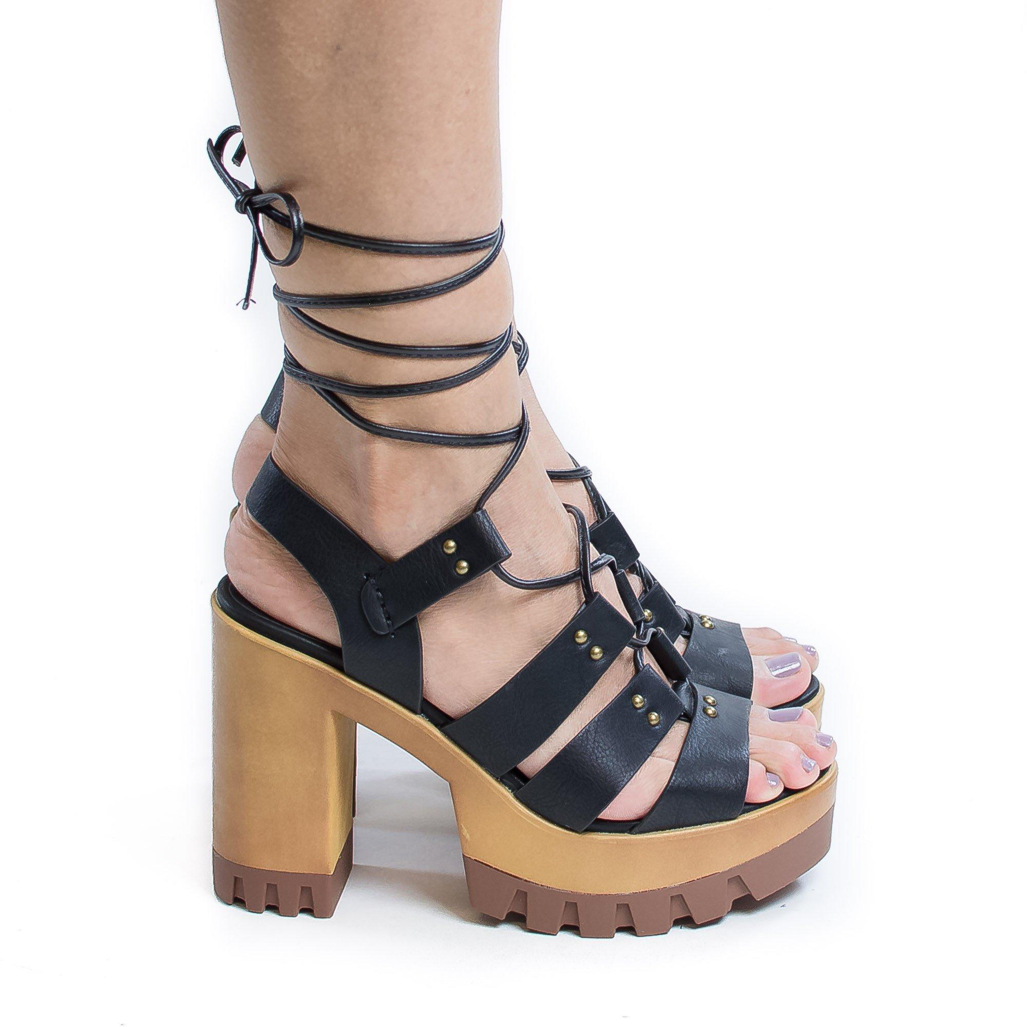 Leslie05 by Wild Diva, Corset Lace Up Sling Back Lug Sole Platform Chunky Heels Pumps