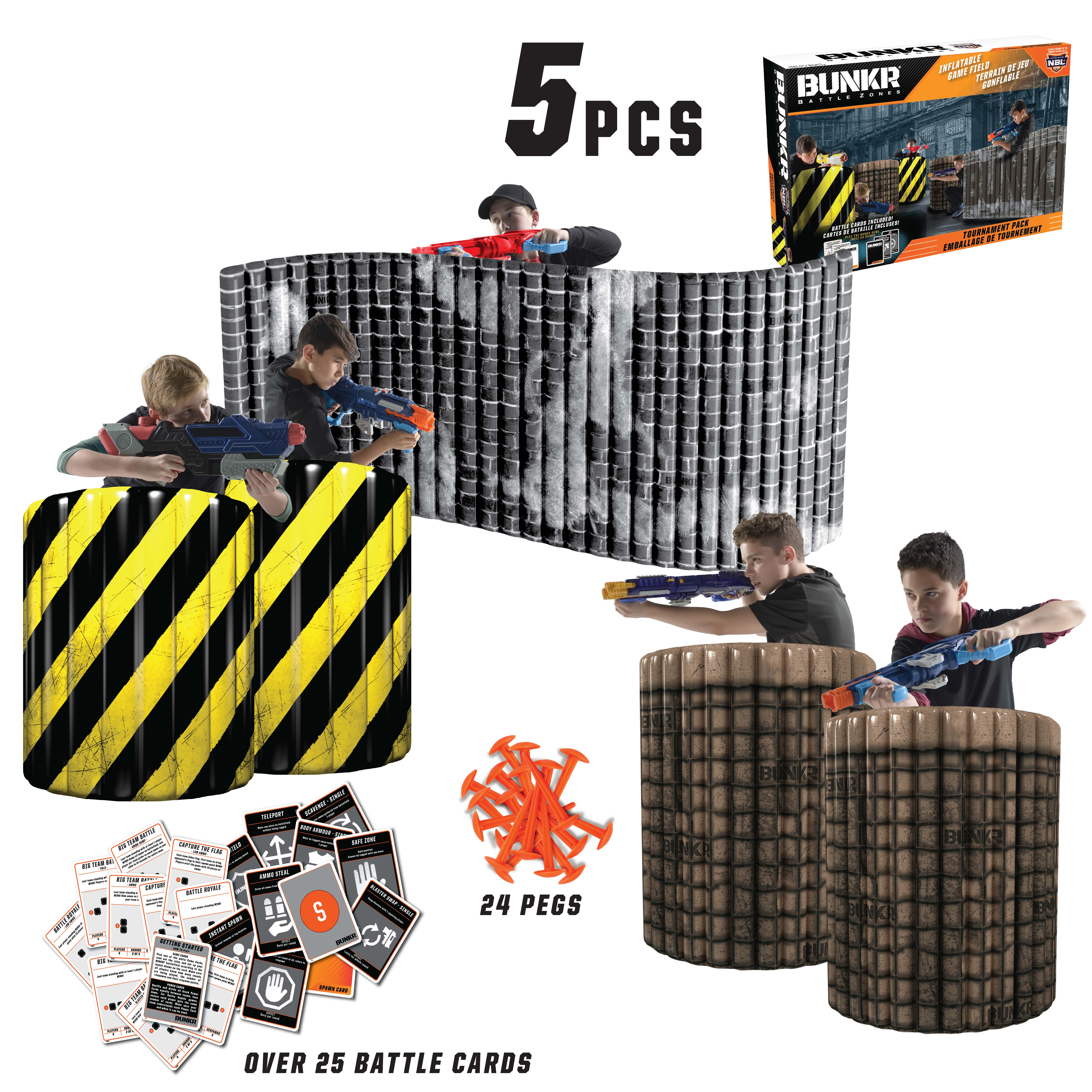 BUNKR Build Your Own Battlezone Inflatable City Zone Tournament 5 Piece Pack. (Compatible with Nerf, Laser X, X shot and Boom co Battles)