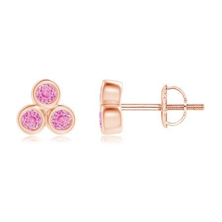 95f70f509 Angara - Bezel Set Pink Sapphire Trio Cluster Stud Earrings in 14K Gold -  Walmart.com