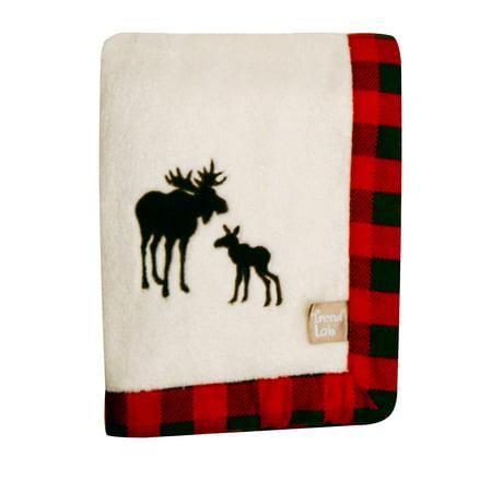 Northwoods Framed Receiving Blanket, Moose Applique, Framed coral fleece with brown moose applique By Trend Lab (Brown Receiving Blankets)