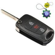 HQRP Remote Flip Folding Key Fob Shell Case Keyless Entry w/3 Buttons for Kia Soul 2010 2011 2012 2013 + HQRP UV Meter