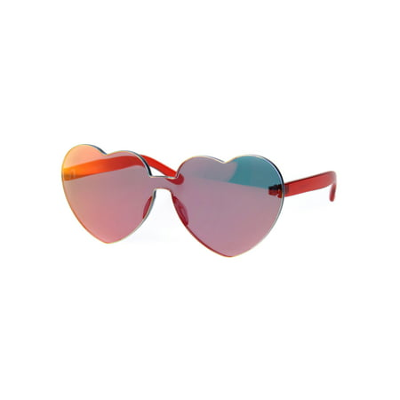 Womens Color Mirror Lens Panel Shield Heart Shape Retro Plastic Sunglasses Red