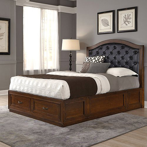 Duet King Tufted Diamond Camelback Bed, Black Leather