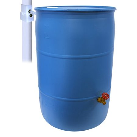 Rescue 55 Gallon Blue Diy Rain Barrel Food Grade Includes Spigot And Diverter Kit