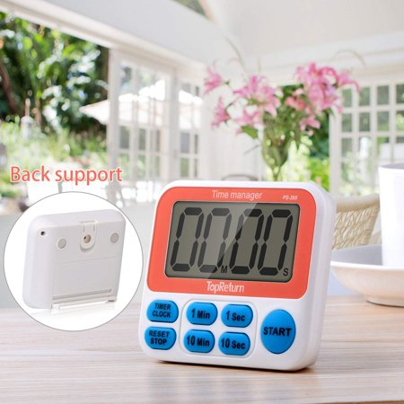 Digital Kitchen Timer Magnetic Back Big LCD Display Loud Alarm Minute Second Count Up Countdown For Kitchen, Homework, Exercise, Game - Timers For Kids