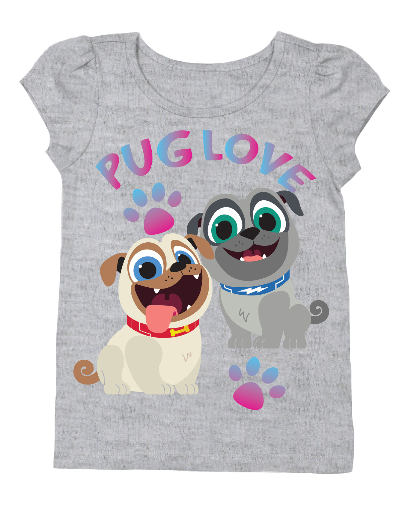 Pug Love Short Sleeve Graphic Tshirt (Toddler Girls)