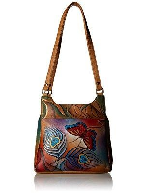 "Women's ANNA by Anuschka Hand Painted Medium Hobo 7001  10.5"" x 9.75"" x 3"""