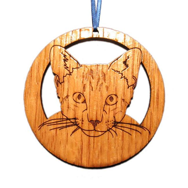 CAMIC designs CAT002FN Laser-Etched Tabby Cat Face Ornaments - Set of 6
