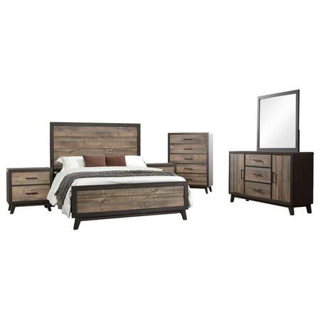 Calista 6 Piece Bedroom Set, Queen, Rustic Mahogany & Dark Ebony Frame Wood, Rustic (Panel Bed, Dresser, Mirror, Chest, 2 Nightstands) Antique Mahogany Bedroom Set