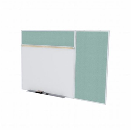 4 ft. x 10 ft. Style B Combination Unit - Porcelain Magnetic Whiteboard and Vinyl Fabric Tackboard - Stone