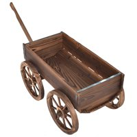 Costway Wood Wagon Planter Pot Stand w/Wheels