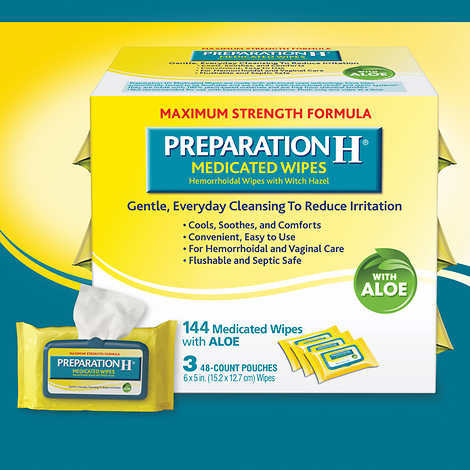 Preparation H Medicated Wipes, 144 Wipes