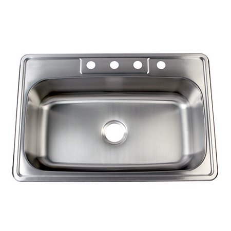 Grey Self Rimming Kitchen Sink (Kingston Brass Studio 23'' L x 34'' W Gourmetier Self Rimming Single Bowl Kitchen Sink)