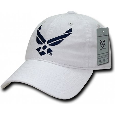 RapDom Air Force Wings Logo Relaxed Cotton Mens Cap [White - Adjustable]