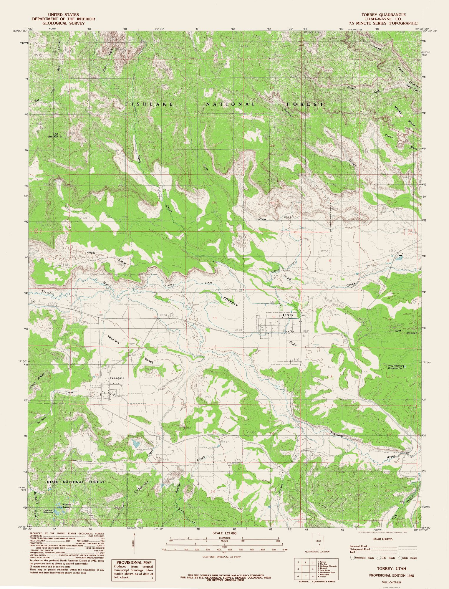 Topographic Map Torrey Utah Quad Usgs 1985 23 X 3017 - Us-geodetic-maps