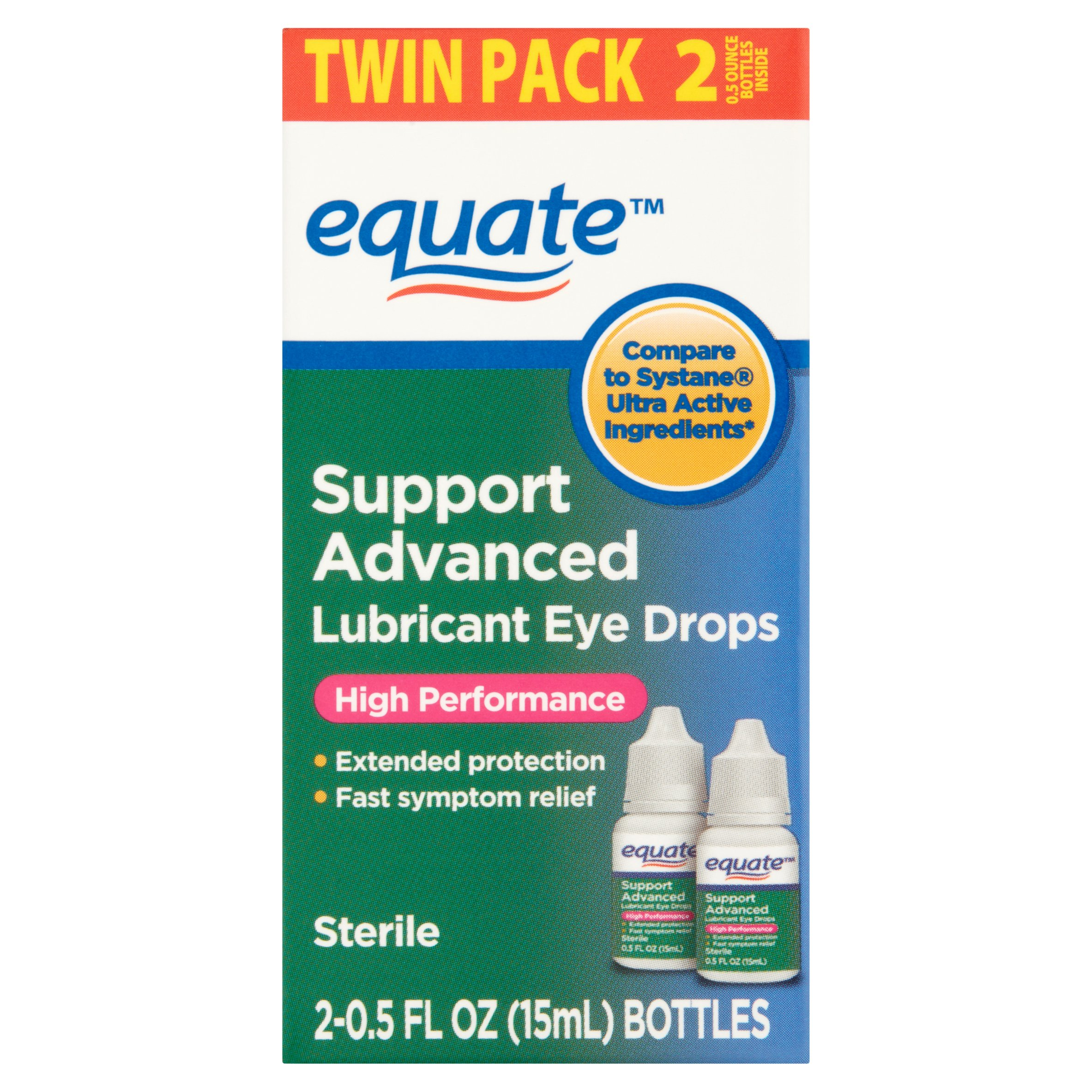 Equate Support Advanced Performance Lubricant Eye Drops, 0.5 Oz, 2 Pk