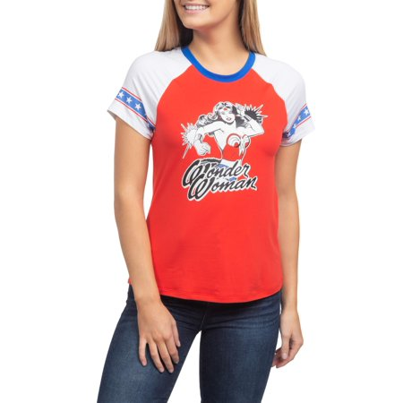 Juniors' Wonder Woman Action Pose Americana Ringer Graphic T-Shirt