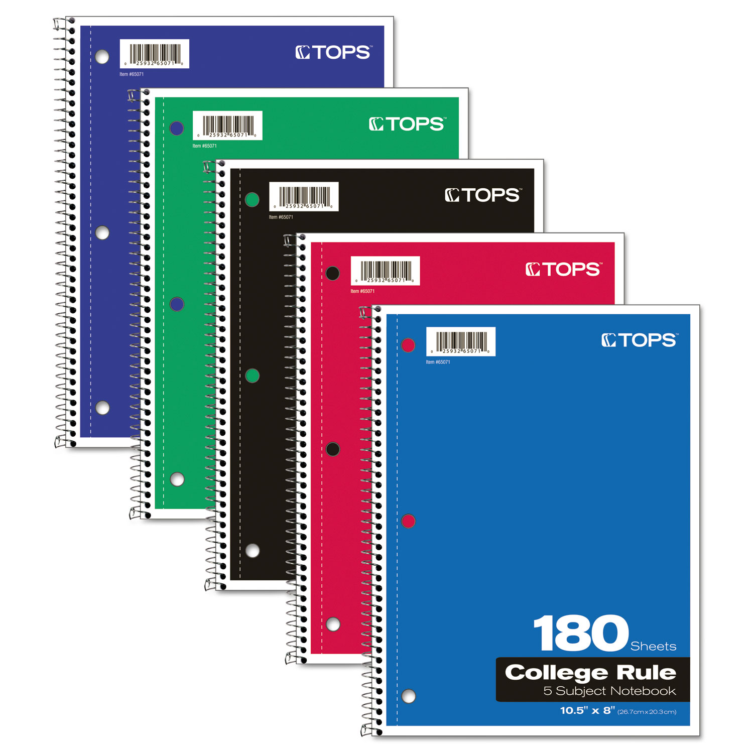 """Tops 5-subject Notebook - 180 Sheet - College Ruled - 10.50"""" X 8"""" - 1 Each - Bright White Paper (65071)"""