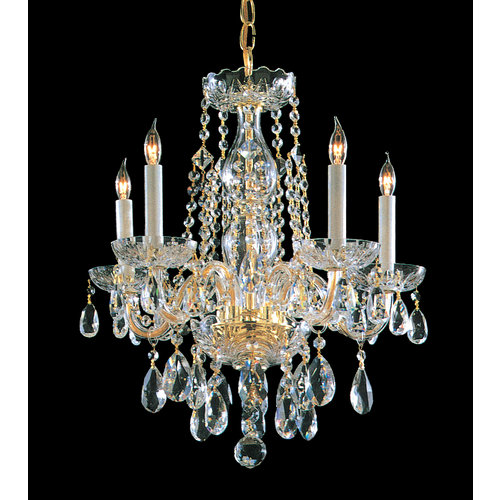 Crystorama Traditional Crystal - Five Light Mini Chandelier, Choose Finish: Polished Brass