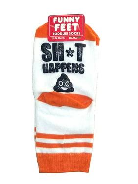 """Gama Go Funny Feet """"SH*T Happens"""" Toddler Socks"""
