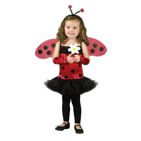 Fun World Toddler Girls Ladybug Costume with Antennae & Wings - Toddler Girls Costume