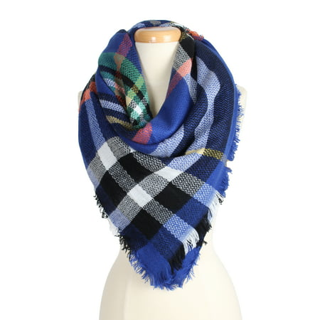 Women's Warm Plaid Pattern Tartan Multi Color Scarf for Cold Fall Winter Season for
