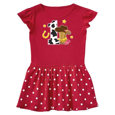 Cowgirl Birthday One Year Old With Boots Infant Dress