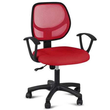 Mid-Back Mesh Chair Office Swivel Task Chair Adjustable Computer Desk Chair Tilt Executive Chair with Armrest Red