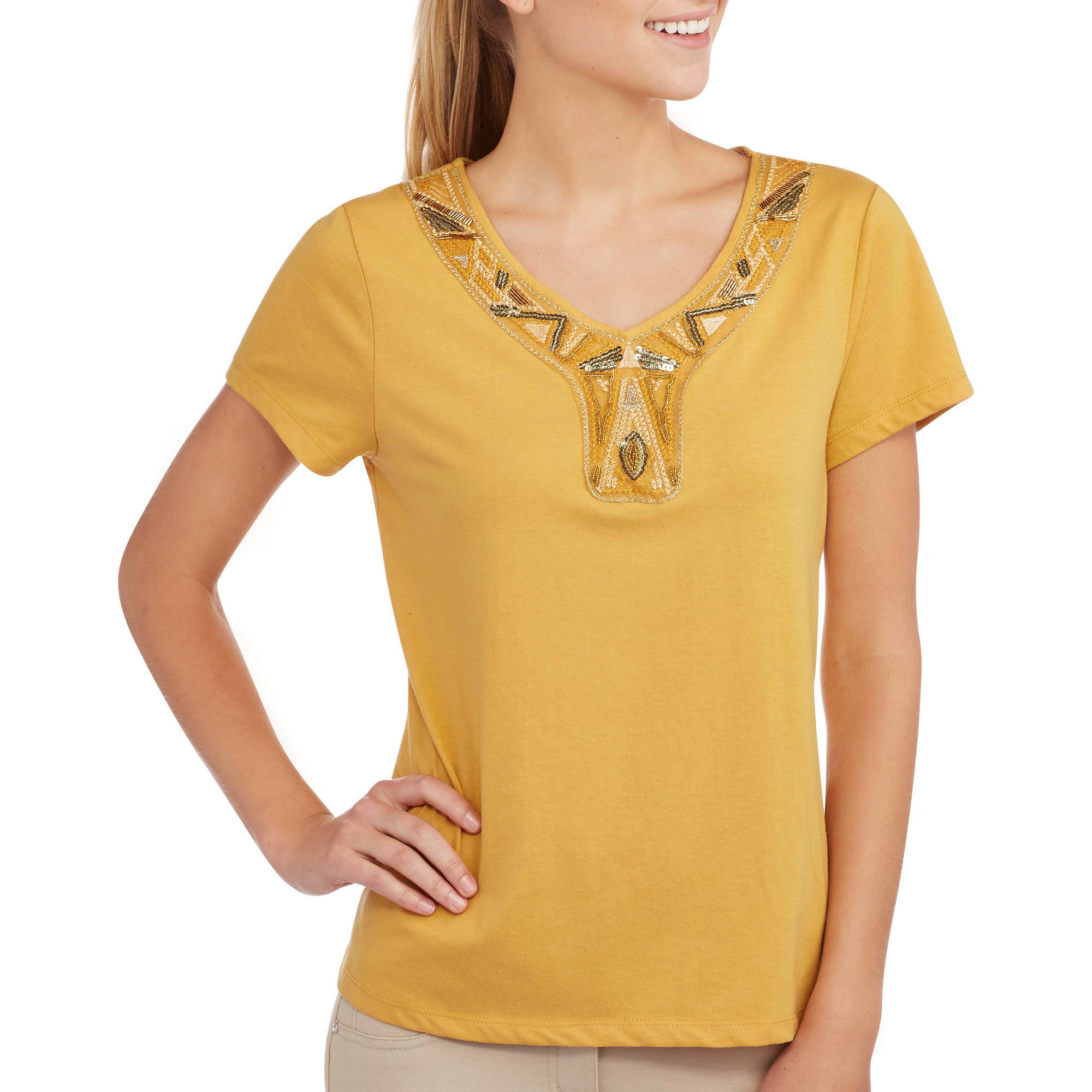 Tru Self Women's Beaded Sequin Embroidered V-Neck Top