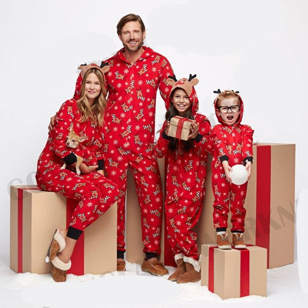 Fashion Lovely Comfortable Cotton Family Mums Matching Christmas Pajamas PJs Sets Xmas Gift Sleepwear Nightwear Outfit Clothes Red