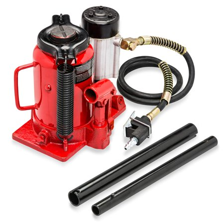 Tooluxe 20T Air Hydraulic Bottle Jack | Low Profile Car Truck Semi ()
